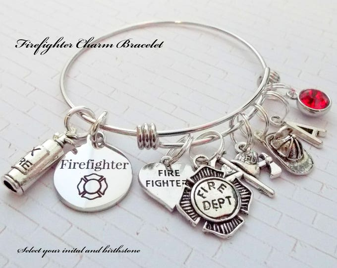 Firefighter Charm Bracelet, Gift for Firefighter, Custom Gift for Female Firefighter, First Responder Gift, Personalized Jewelry Gift Her