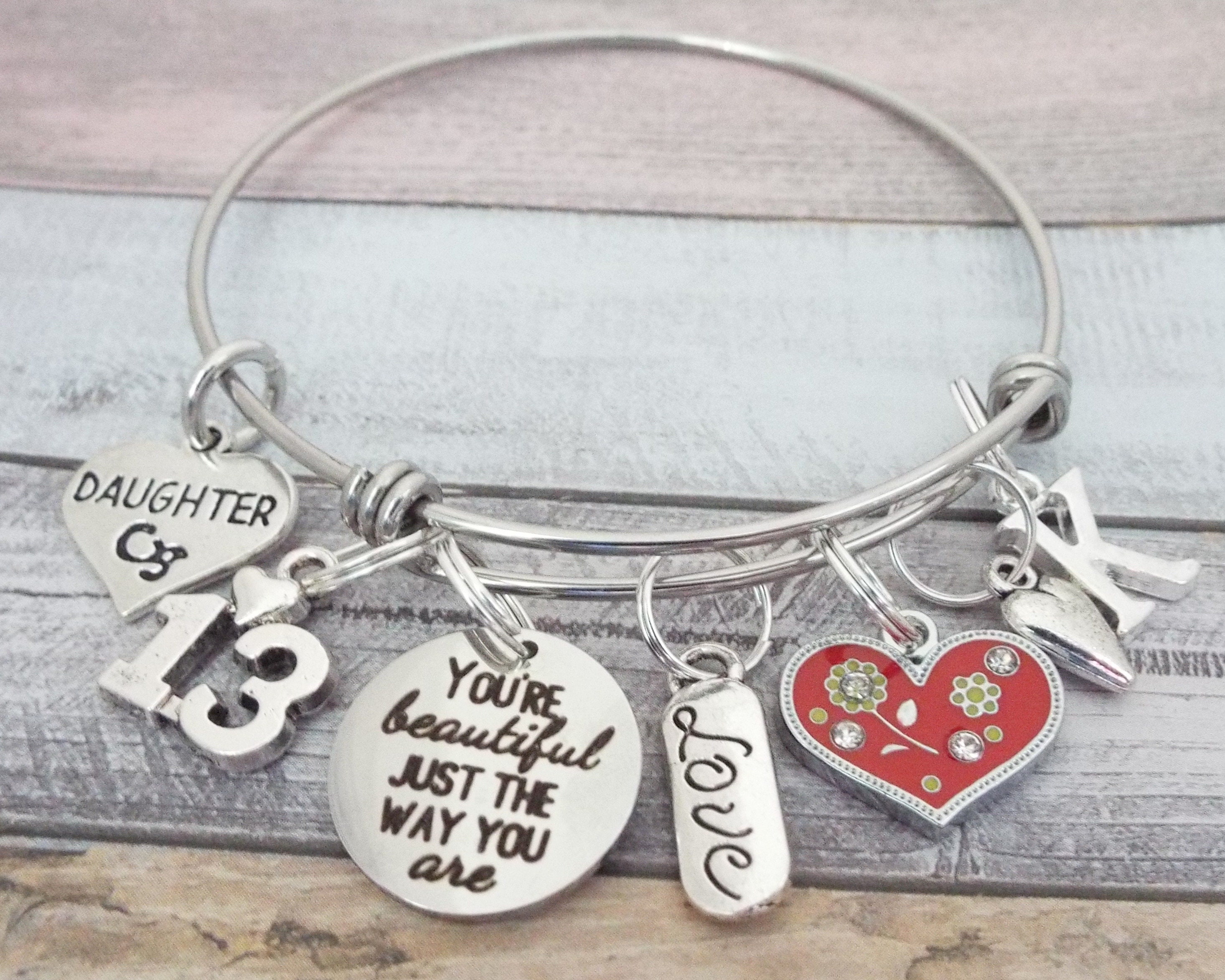 Personalized Daughter Birthday Gift Charm Bracelet Teenage Girl Teenager Jewelry Custom From Mom Mother