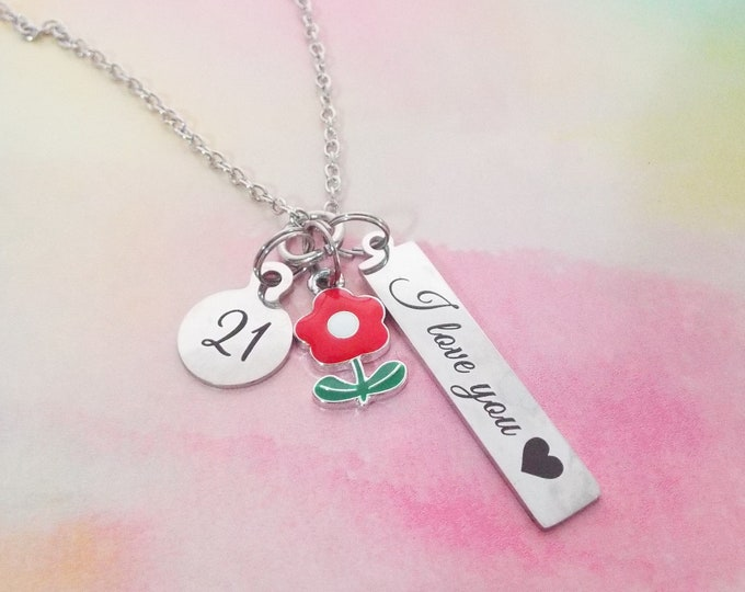 21st Birthday Necklace for Daughter, Granddaughter 21st Birthday Gift, Personalized Jewelry, Gift for Her, Charm Necklace for Birthday Girl
