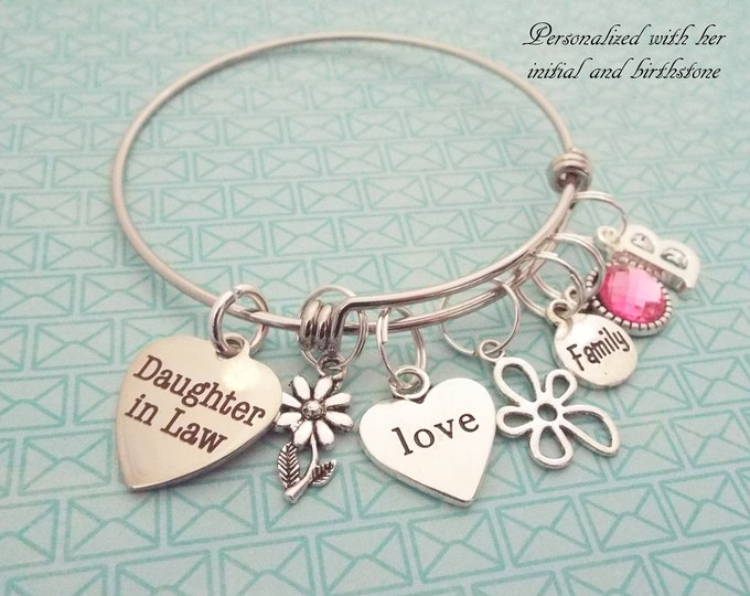 Daughter-in-Law Gift, Daughter in law Wedding, Gift for New Daughter, Birthstone Jewelry, Personalized Gift, Silver Bracelet, Gift for Her