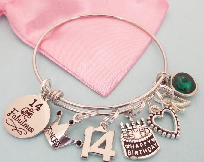 Girl 14th Birthday Gift, 14th Birthday Charm Bracelet, Gift for Girl Turning 14, Birthday for Girl, Birthday for Her, Gift for Her, 14 Year