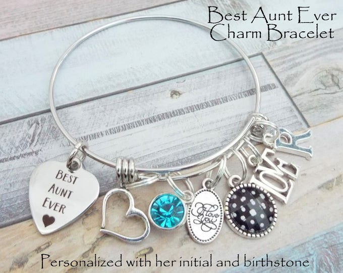 Gift for Aunt, Aunt Charm Bracelet, Niece to Aunt Gift, Personalized Gift, Custom Jewelry, Gift for Her, Women's Jewelry, Aunt's Birthday