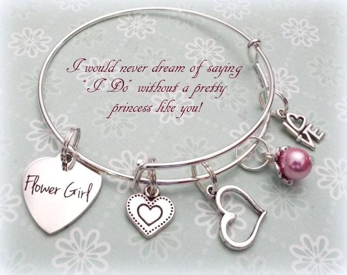 Flower Girl Gift, Will You Be My Flower Girl Bracelet, Personalized Wedding Bracelet, Children's Jewelry, Gift for Flower Girl, Bridesmaid