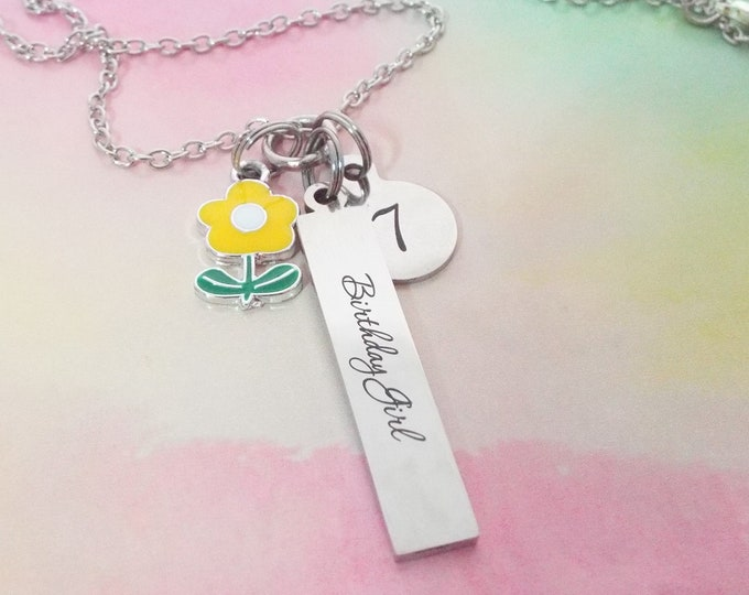 Girls 7th Birthday Charm Necklace, Gift for Girl Turning 7, Daughter Birthday, Granddaughter or Niece Gift, Personalized Jewelry, Girl Gift