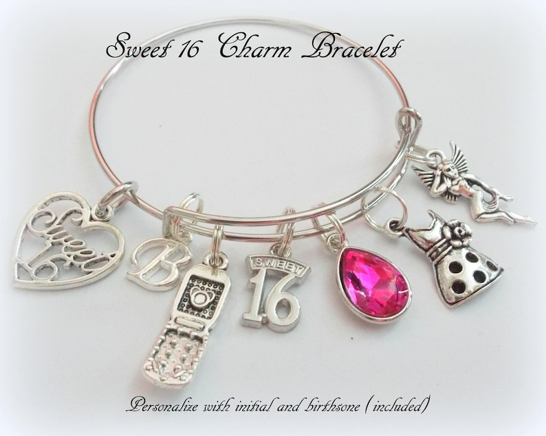 ca802c53ffb Sweet 16 Charm Bracelet 16th Birthday Gift Girl Personalized