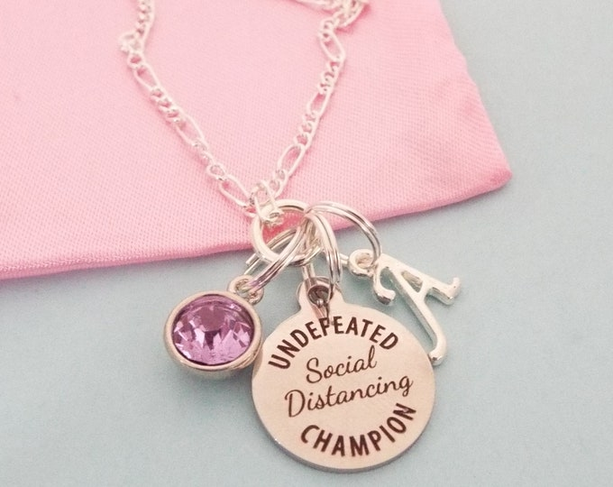 Quarantine Birthday Gift Charm Necklace, Social Distancing Gift For Her, Personalized Gift, Birthday Gift for Her, Custom Jewelry for Girls