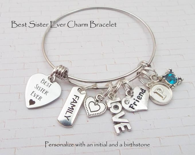 Sister Gift, Sister to Sister Charm Bracelet, Gift for Sister, Personalized Gift, Gift for Her, Sister Jewelry, Best Sister Ever, Girl Gift