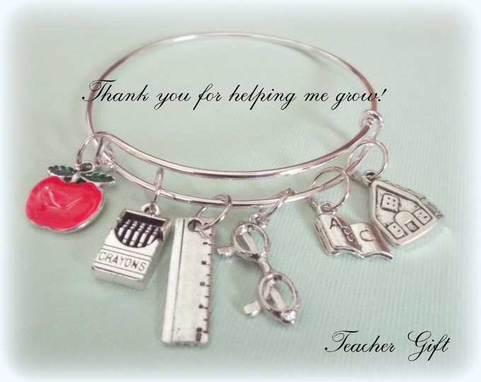 Thank You Teacher Gift, Teacher Appreciation, Thank You Gift, Gift for Teacher, Personalized Gift, Gift for Her, Teacher Charm Bracelet