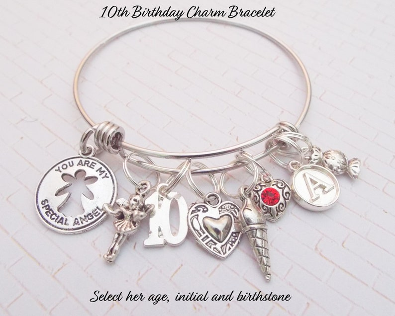 10th Birthday Girl Charm Bracelet 10 Year Old
