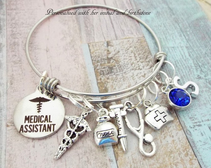 Medical Assistant Bracelet Gift, Personalized Gift, Graduation Gift, Birthstone Jewelry, Gifts for Her, Gifts for Women, Custom Jewelry,