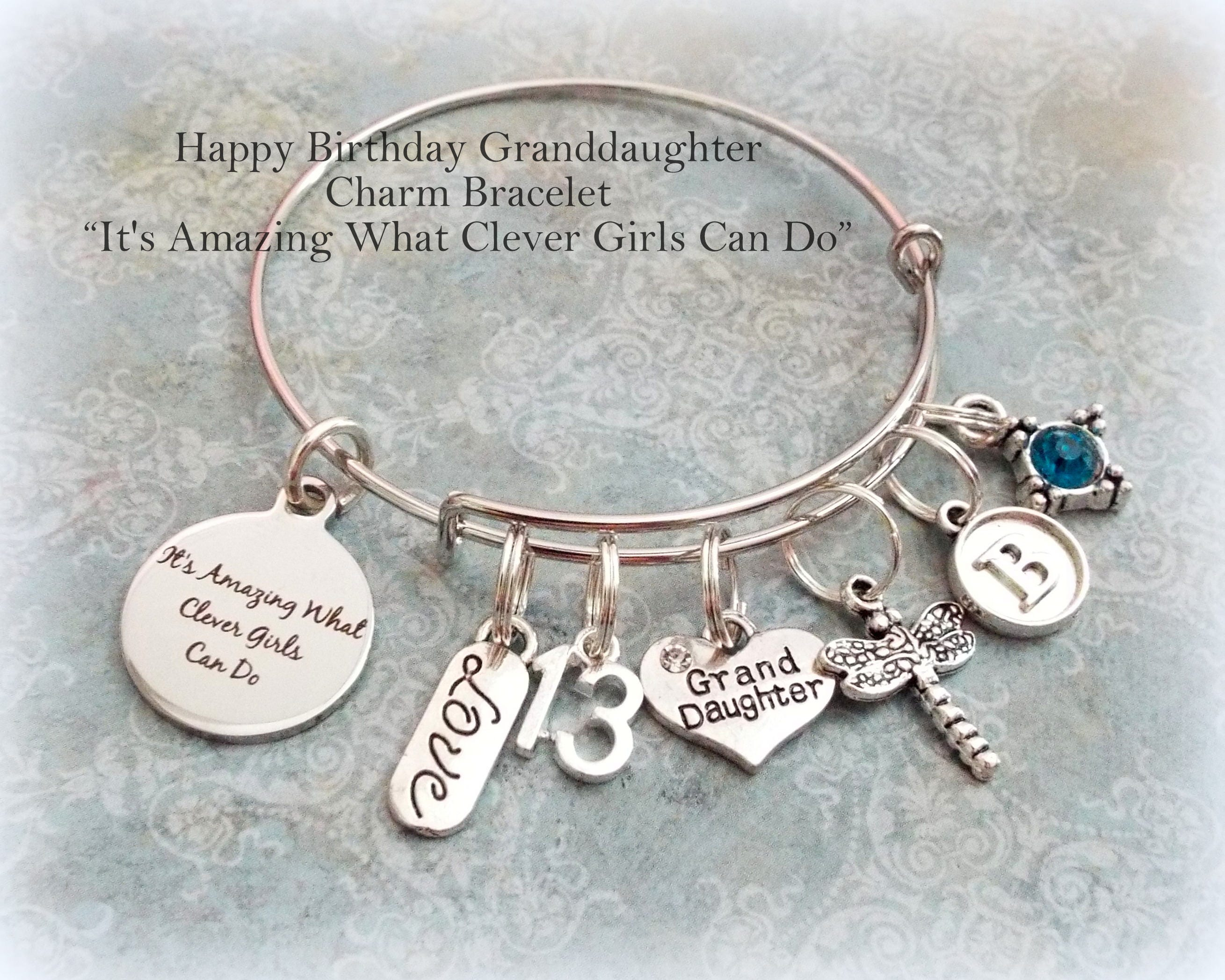 Happy Birthday Charm Bracelet For Granddaughter Gift 13 Year Old Girl Custom To From Grandmother