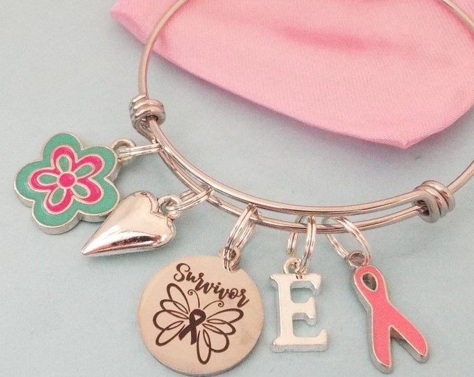 Breast Cancer Survivor Gift, Charm Bracelet, Pink Ribbon Jewelry, Gift for Her, Stackable Bracelet, Layering Jewelry, Best Friend Gift Girl