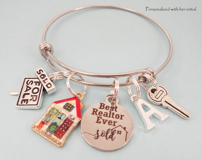 Real Estate Agent Gift Charm Bracelet, Thank You Gift for Her, Top Seller Congratulations, Real Estate Graduation Gift, Personalized Gift