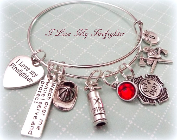 Love My Firefighter Personalized Charm Bracelet, Firefighter Wife Gift, Gift for Firefighter Girlfriend, Personalized for Her, Firefighter