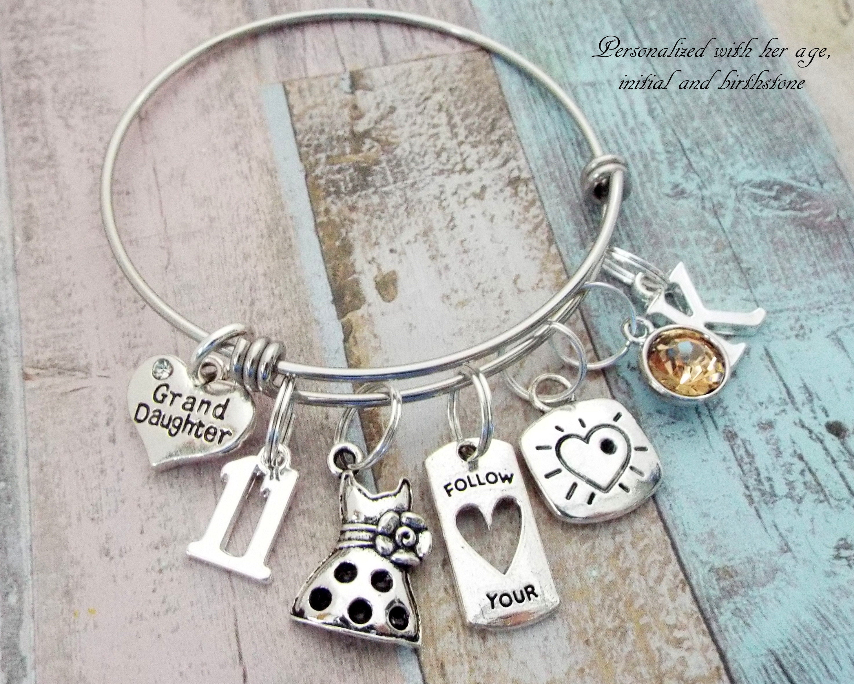 Girl Birthday Charm Bracelet 11th Gift Daughter Jewelry Personalized For Her 11 Year Old Niece