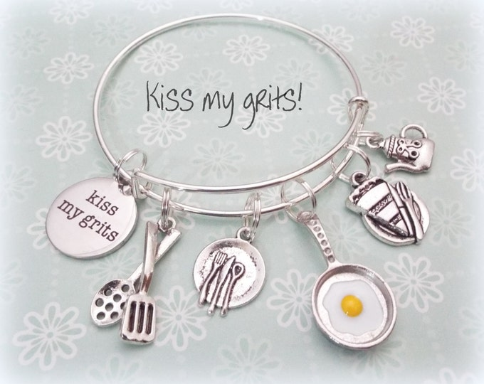 Waitress Gift, Gift for Food Server, Foodie Charm Bracelet, Gift for Cook, Chef Charm Bracelet, Waitress Charm Bracelet, Women's Jewelry