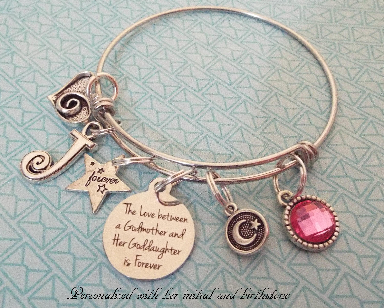 Gift For Goddaughter Birthstone Necklace Sterling By: Godmother Gift, Goddaughter Birthday Charm Bracelet