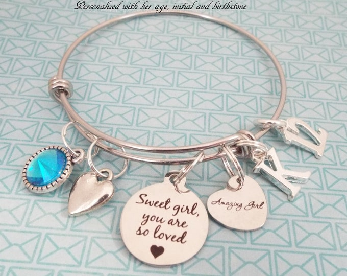 12th Birthday Gift Girl,  Personalized Children's Daughter Jewelry, Kids Birthday Girl, Little Girl Charm Bracelet, Granddaughter Birthday