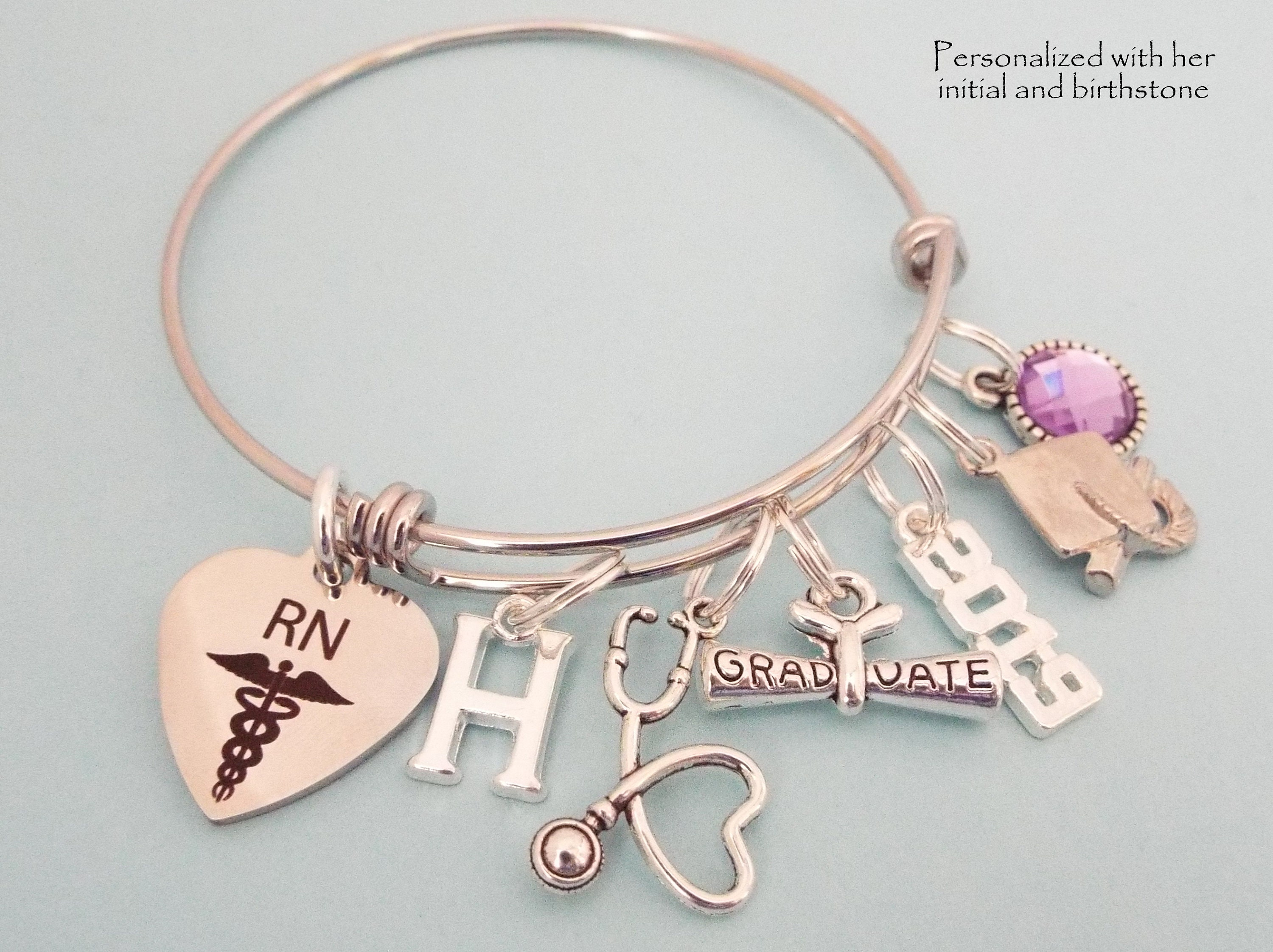 Nurse Graduation Personalized Gift Rn Graduate Charm Bracelet Nursing School Woman S Graduation Gift Gift For Her Girl Graduating