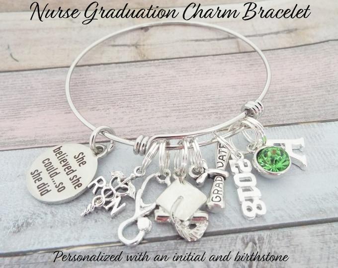 Nurse Graduation Gift, RN Graduation, She Believed She Could Charm Bracelet, Gift for Nurse Graduate, Gift for New Nurse Graduating, for Her