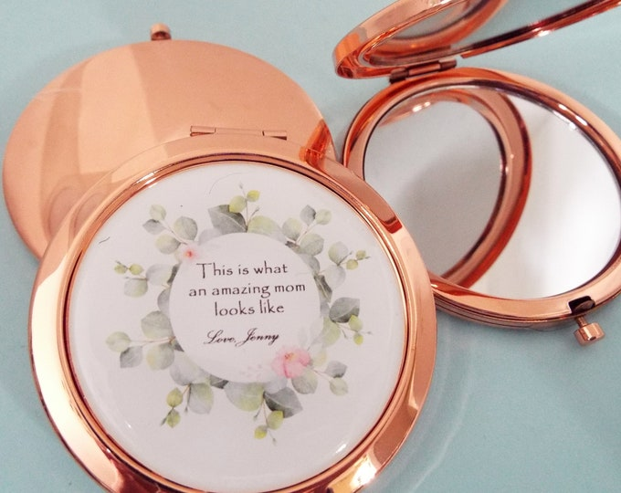 Christmas Gift from Daughter, Personalized Mirror Compact for Mom, Gift for Her, Custom Gift for Mother from Child, Customized Christmas