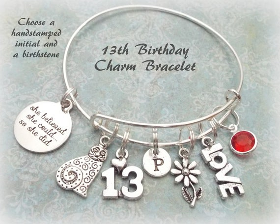 13th Birthday Charm Bracelet Gift For 13 Year Old