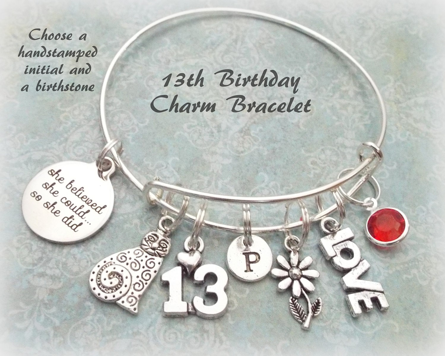 Birthday Gift For 13 Year Old Daughter Cat Charm Bracelet Personalized Jewelry 13th Gallery Photo