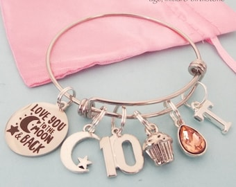 10th Birthday Gift for Girl, Daughter Turning 10, Personalized Custom Bracelet, 10 Year Old Birthday Charm Bracelet, Child Birthday Gift