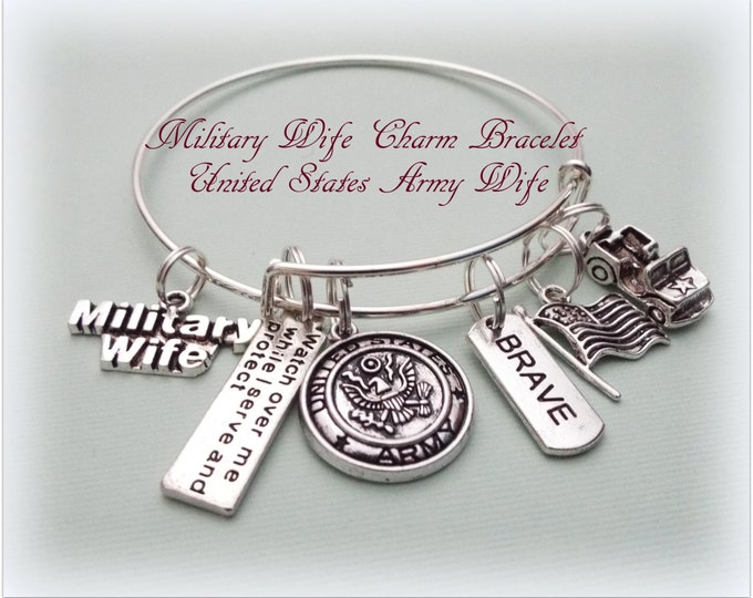 Military Wife Bracelet, Gift for Military Wife, Gift for Military Mom, Gift Ideas for Her, Military Tribute Bracelet, Army Tribute Bracelet