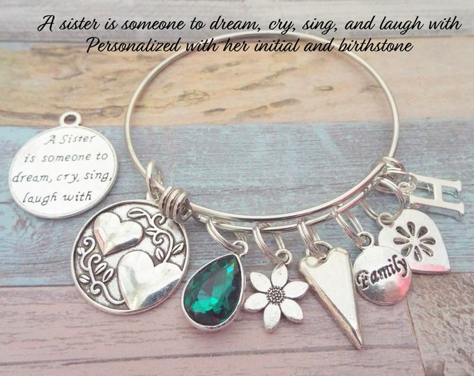 Gift for Sister, Sister Birthday Gift, Gift for Sister's Birthday, Sister Charm Bracelet, Personalized Gift, Jewelry Gift, Gift for Her