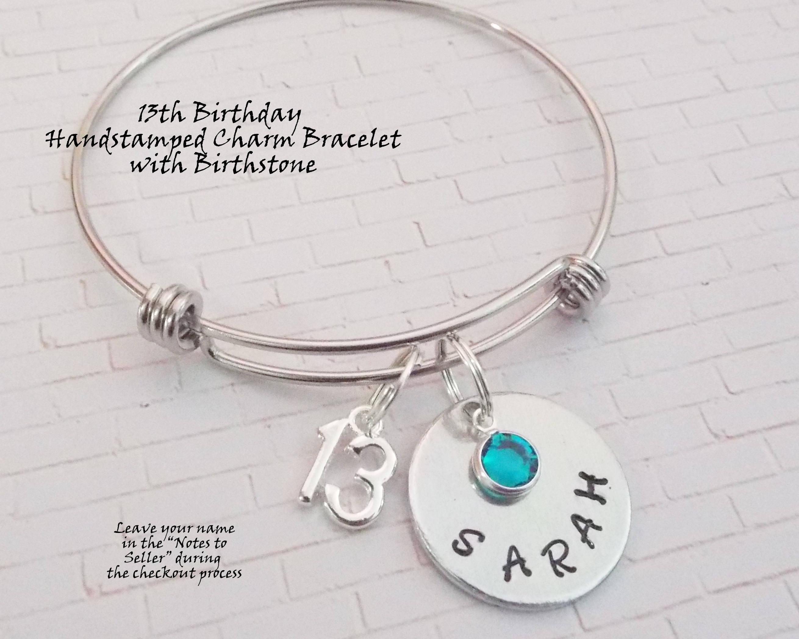 13th Birthday Gift Girl Charm Bracelet Personalized Girls Birthstone For