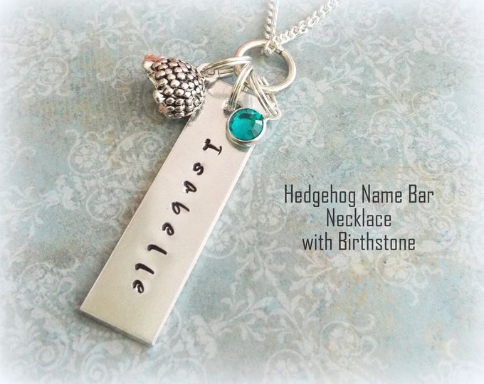 Custom Name Bar Necklace, Hedgehog Jewelry, Birthday for Her, Personalized Gift, Custom Jewelry, Gift for Her, Girl's Birthday, For Daughter