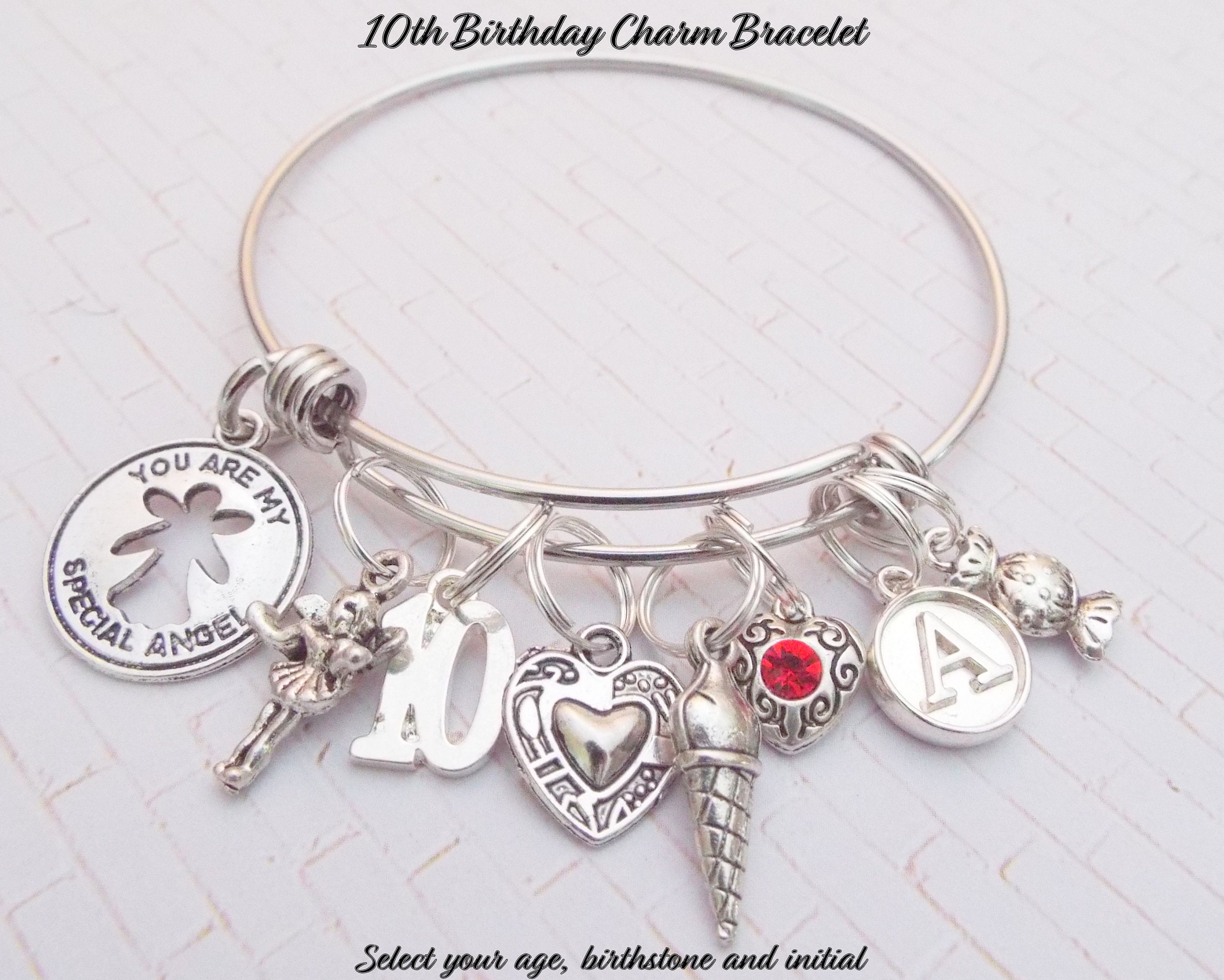 10th Birthday Girl Charm Bracelet 10 Year Old Daughter Gift Ideas Girls