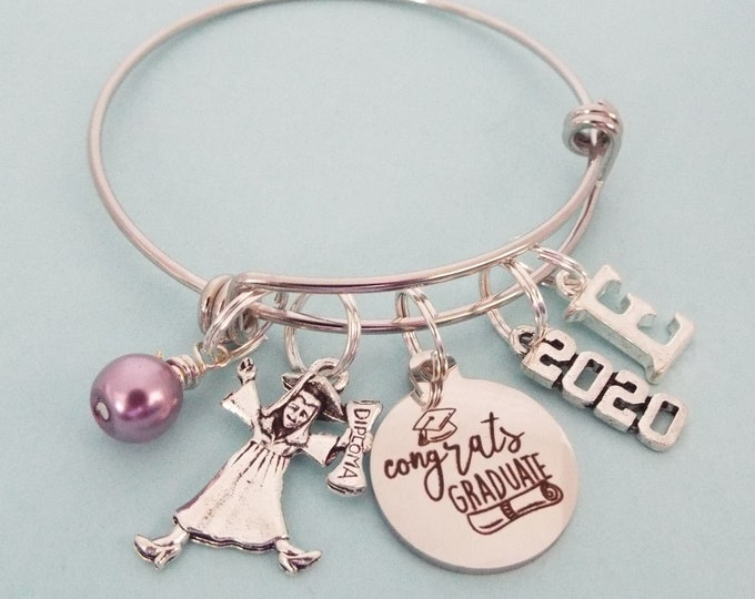 2020 Graduation Gift Charm Bracelet, High School Grad, Girl Graduating from College, Gift for Her, Personalized Jewelry, Custom Bracelet