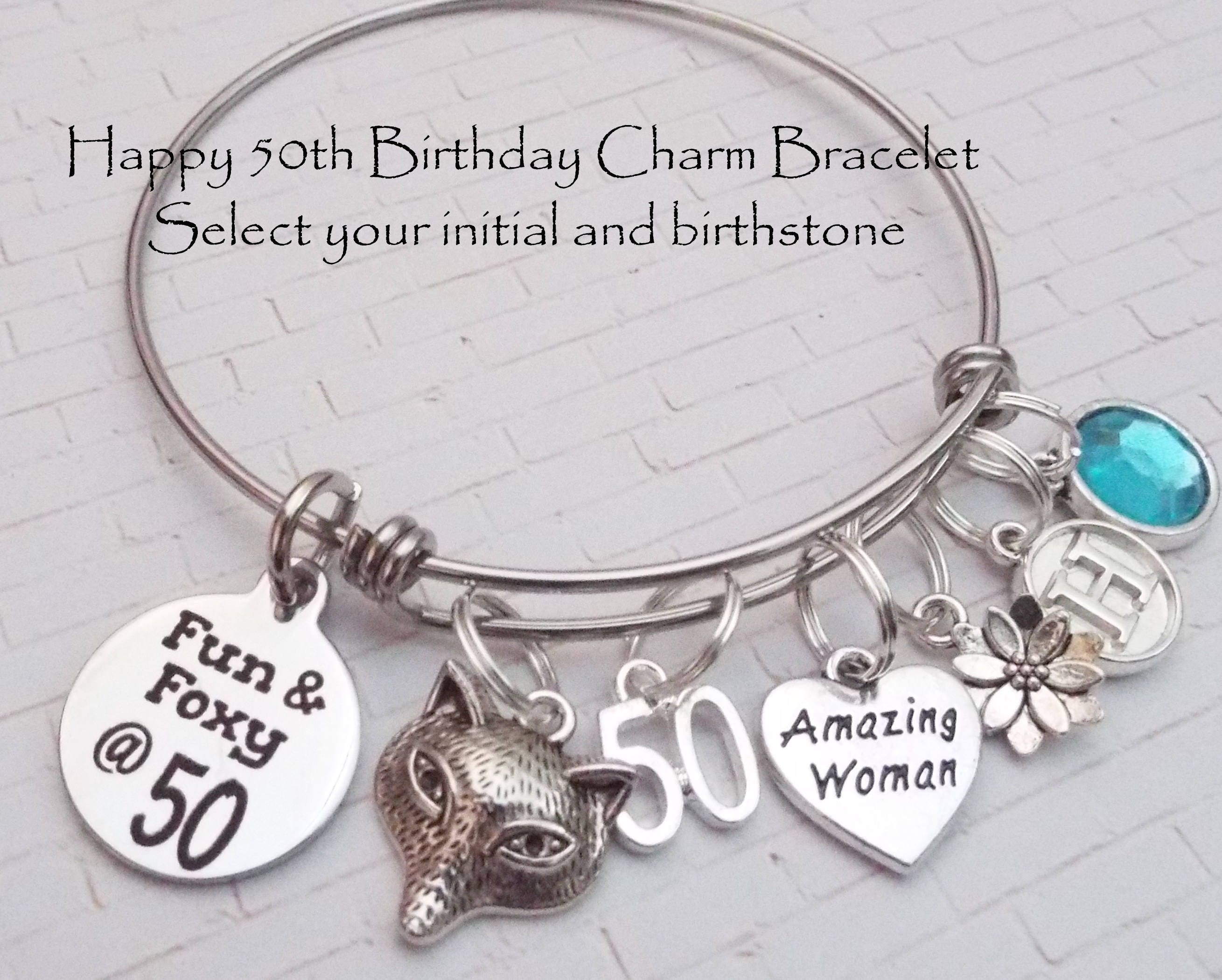 50th Birthday Gift For Women Womans Charm Bracelet Friends Custom Woman