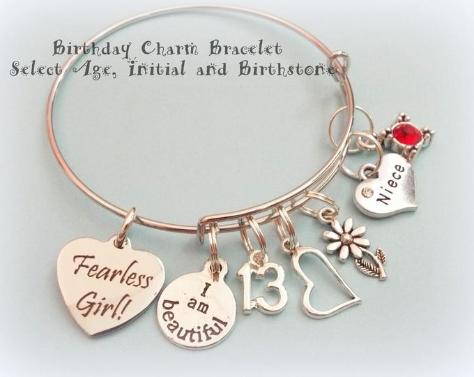 Niece Charm Bracelet, Gift for Niece, Aunt to Niece Gift, Personalized Gift for Niece, Inspirational Gift, Fearless Girl Jewelry Gift