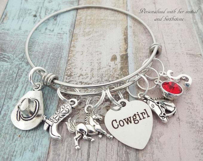 Cowgirl Charm Bracelet, Western Jewelry, Gift for Cowgirl, Personalized Gift, Custom Jewelry, Gift for Her, Girl Gift, Initial Jewelry