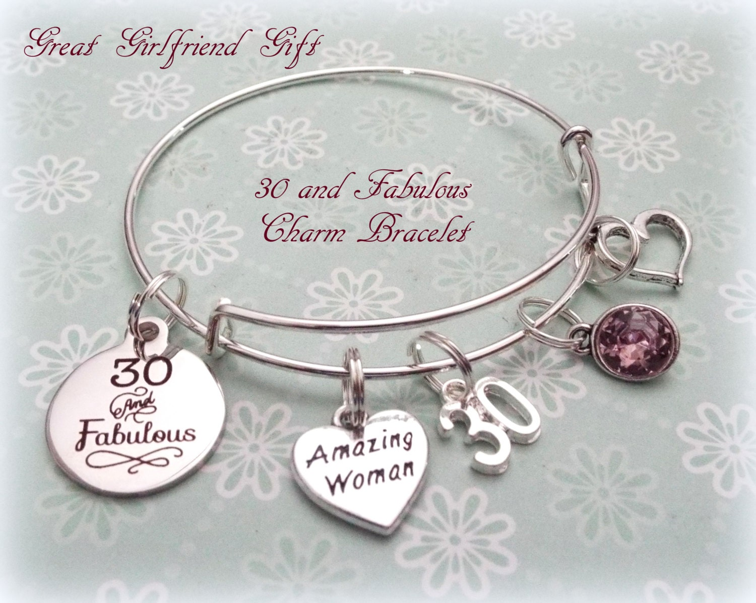 30th Birthday Gift 30 And Fabulous Charm Bracelet