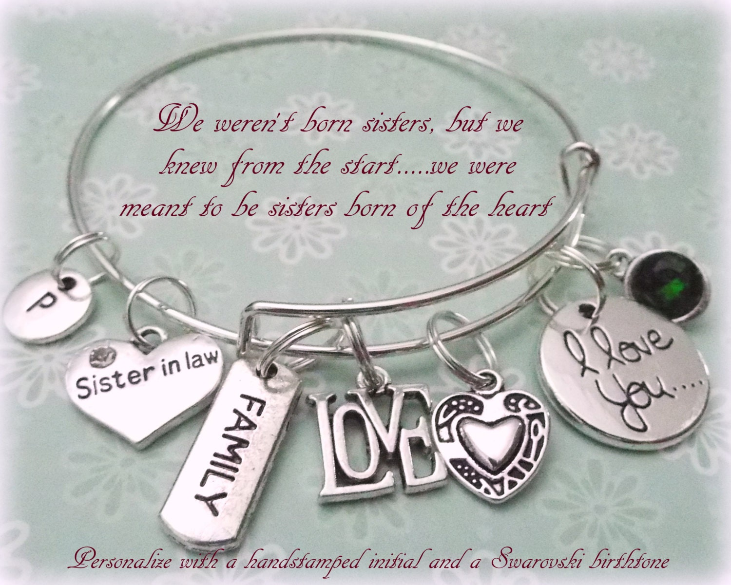 Sister In Law Charm Bracelet Gift For Sister In Law Wedding Gift