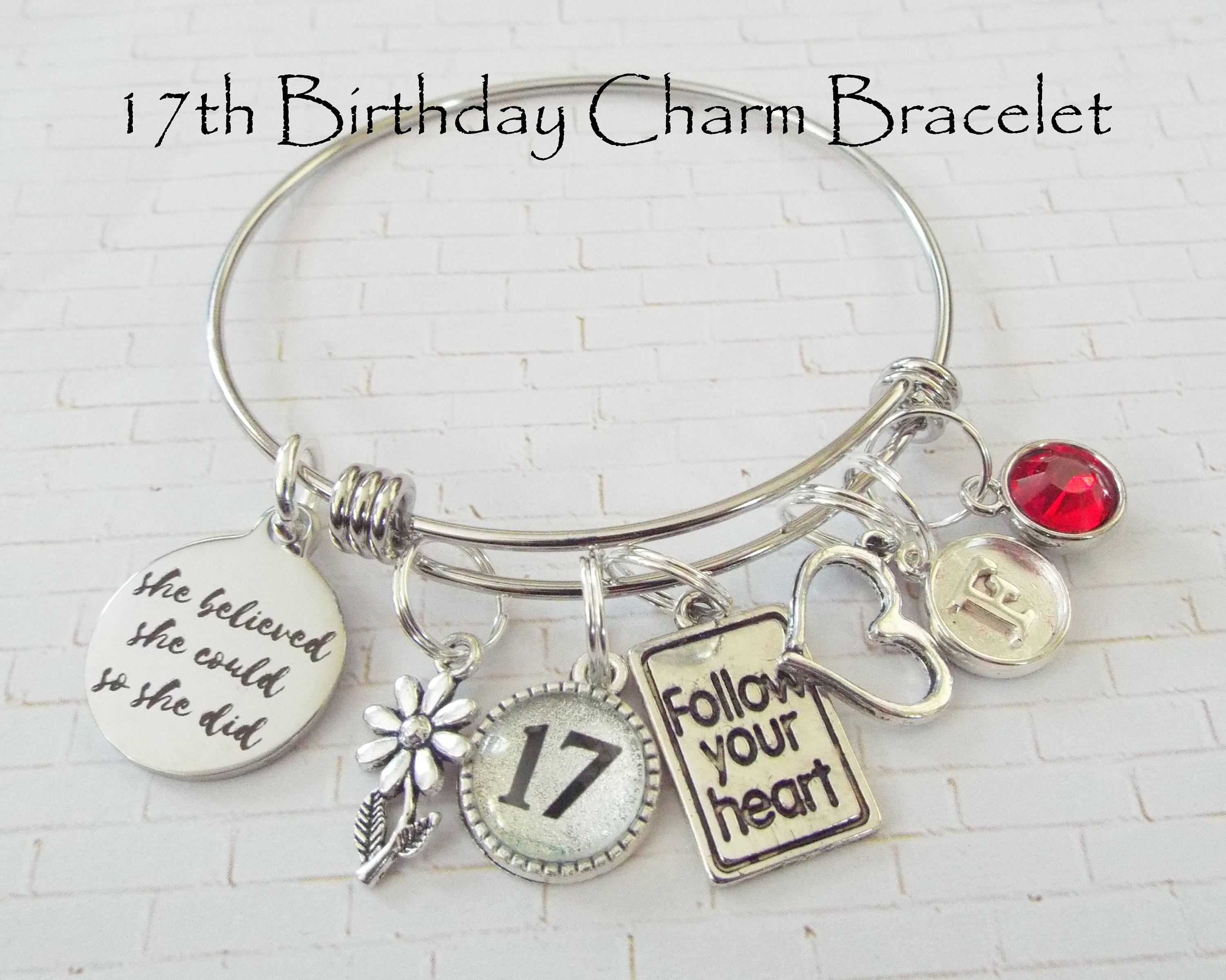 Birthday Gift For Teenage Girl 17th Happy Charm Bracelet Custom Personalized Her