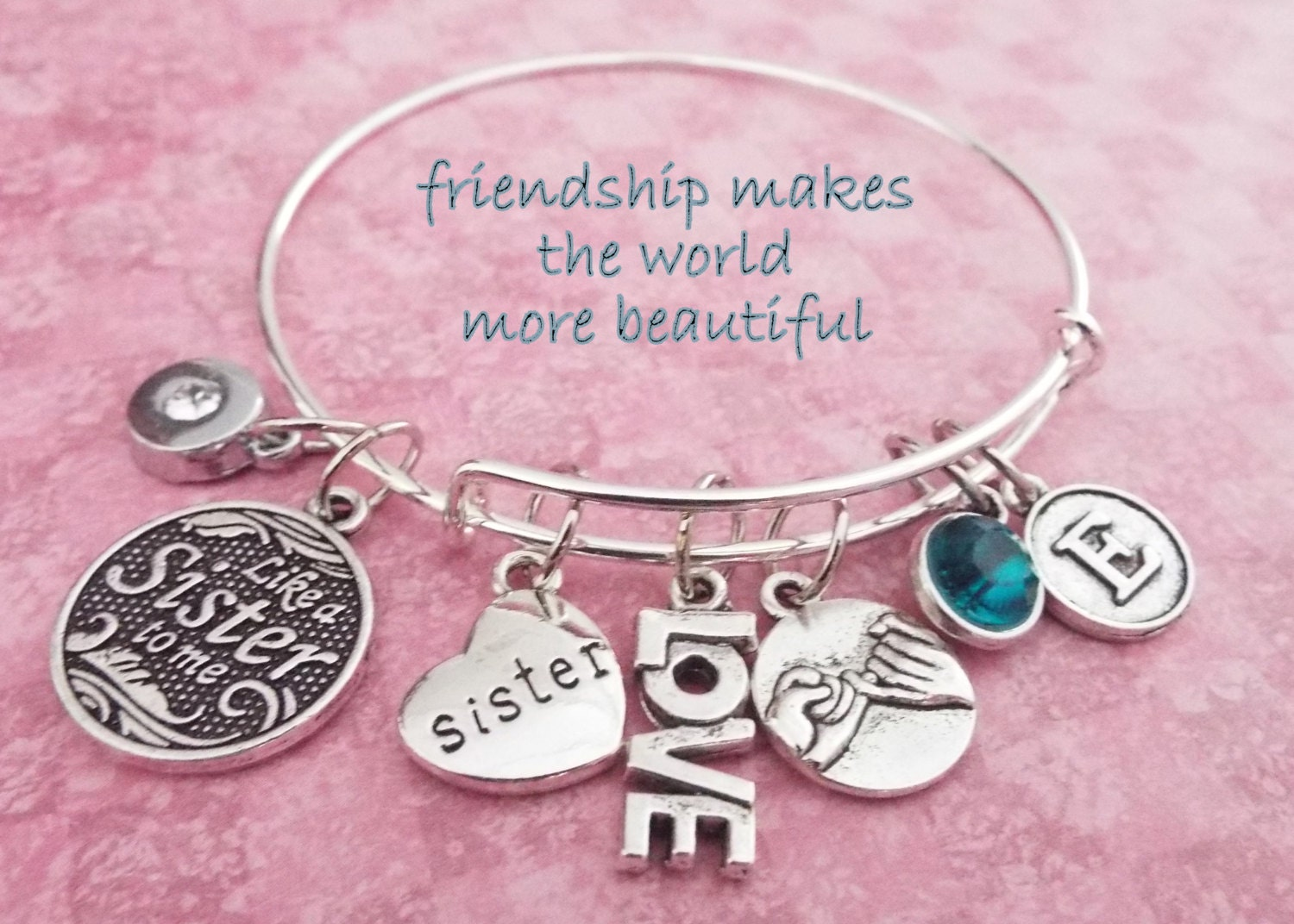 Like A Sister To Me Charm Bracelet Gift For Best Friend Bff