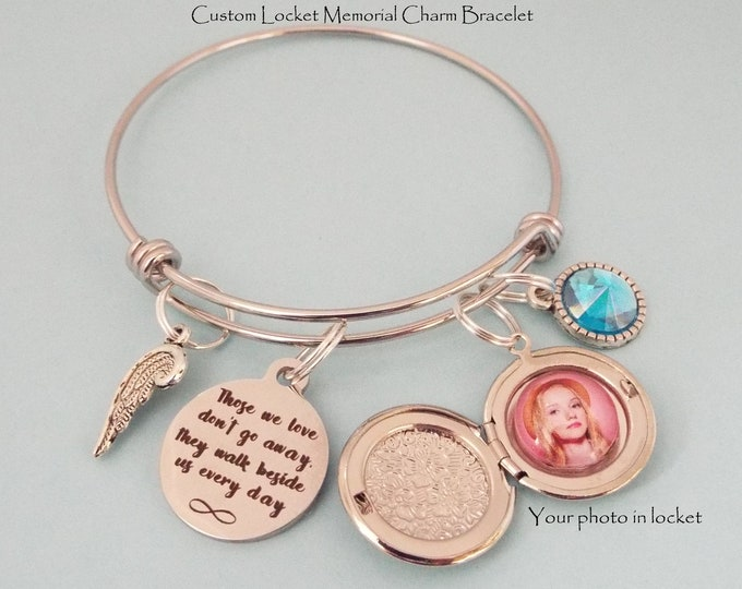 Sympathy for Loss of Loved One, Memorial Bracelet, Personalized Gift, Grief and Mourning, Memorialize, Gift for Her, Custom Photo Gift