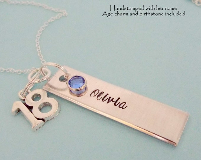 18th Birthday Gift for Girl, Name Bar Necklace, Personalized Teenage Girl Gift,  Teenager Birthday, Gift for Her, Daughter Birthday