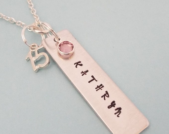 15th Birthday Girl Gift, Name Necklace for Girl Turning 15, Teenage Girl Birthday, Teenager Jewelry Gift, Personalized Gift, Gift for Her