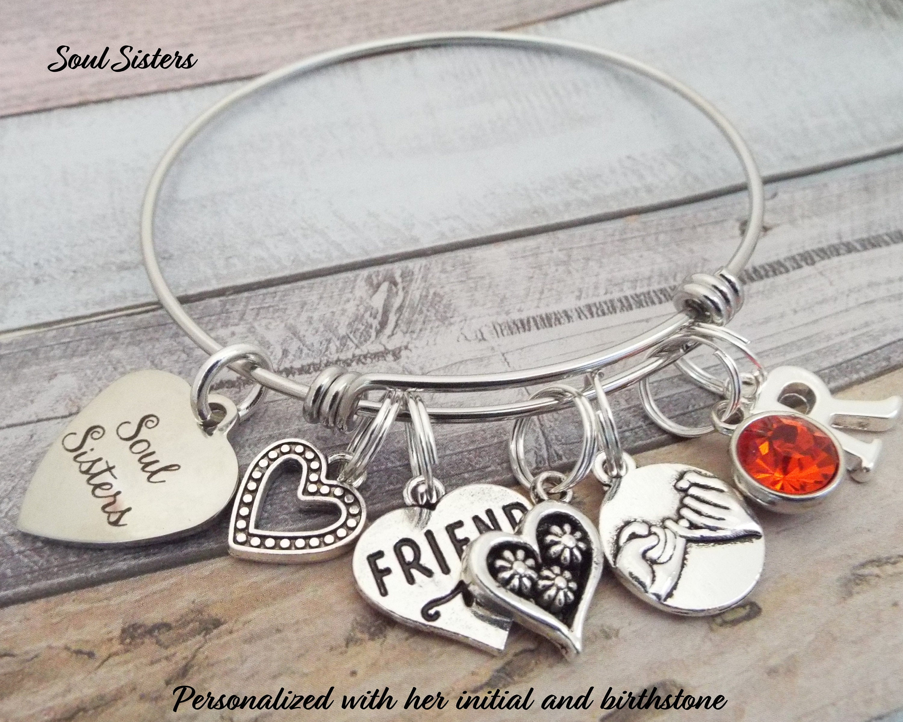 Gift For Best Friend Birthday BFF Soul Sister Charm Bracelet Personalized Her Girl