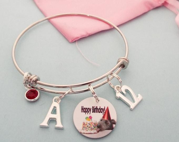 Girl's Birthday Charm Bracelet, Birthday Gift for Girl, Personalized Bracelet, Birthstone Jewelry, Initial Bracelet, Gift for Her