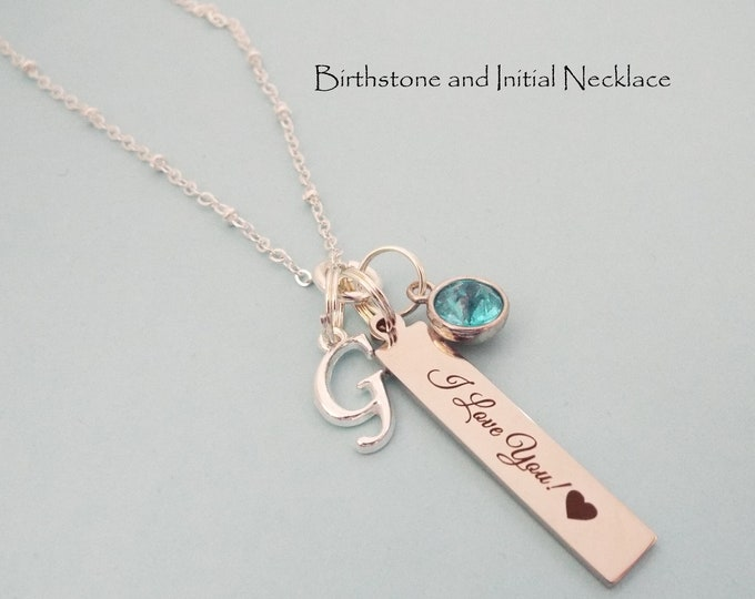 I Love You Birthstone Necklace, Girl Initial Jewelry, Personalized Gift for Daughter, Birthday for Her, Granddaughter Gift, Niece Necklace