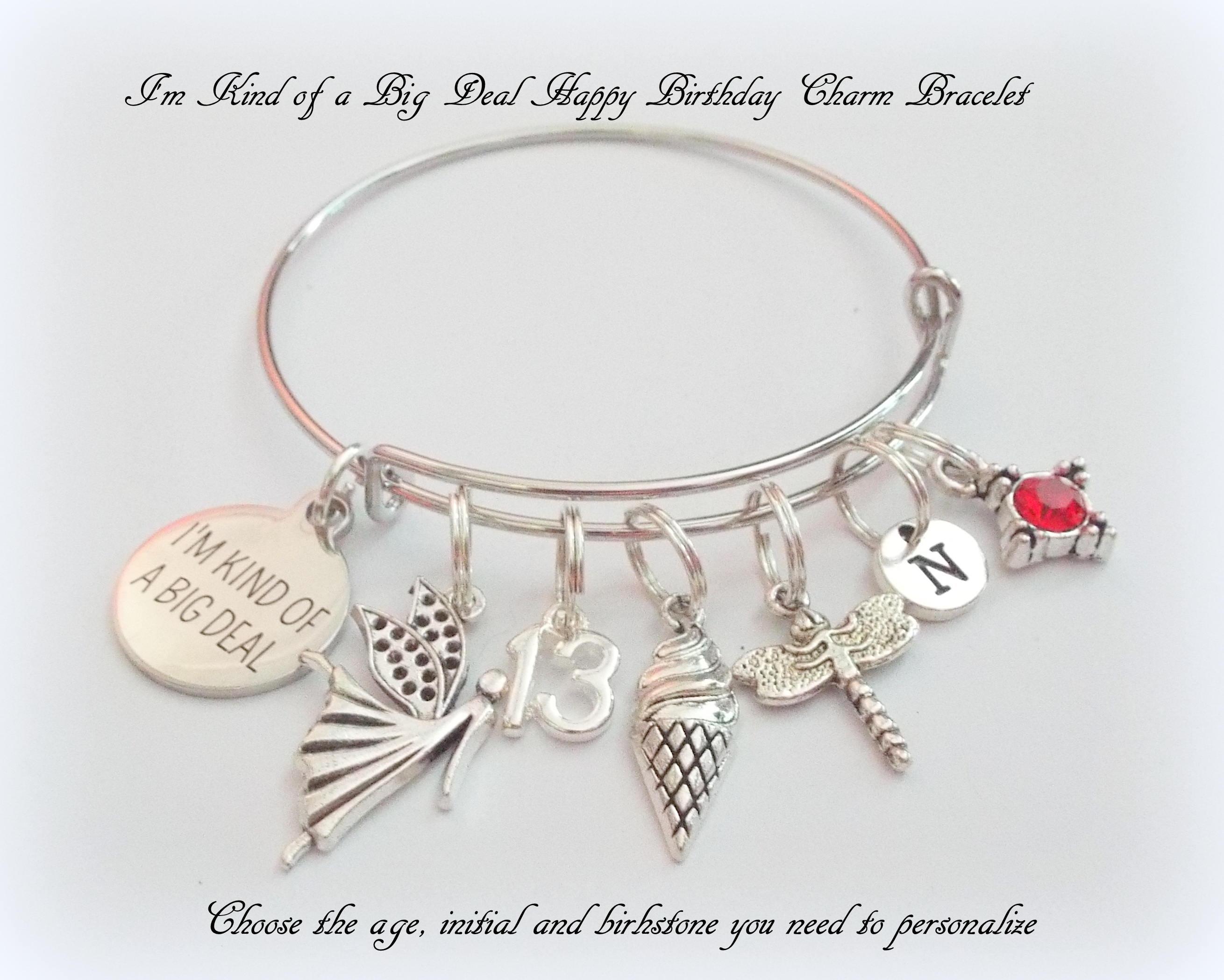 13th Birthday Girl Charm Bracelet For Teenager Custom Gift Teenage Personalized