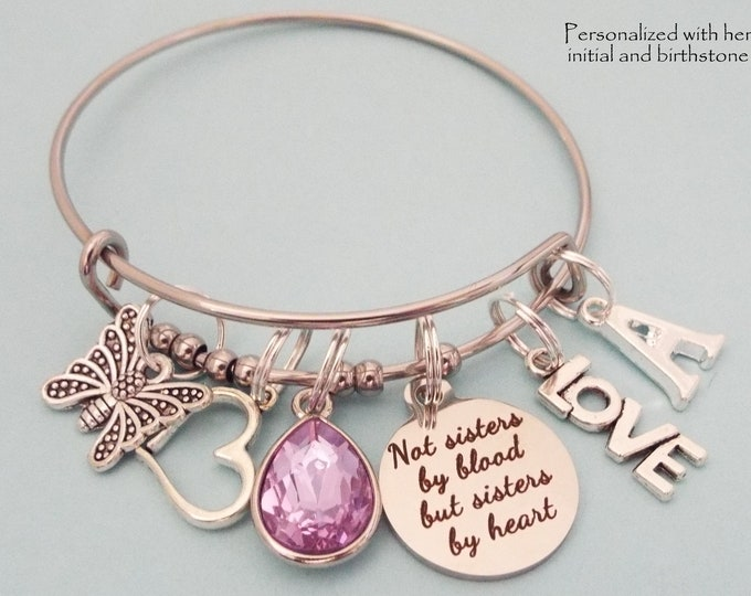 Best Friends Birthday Gift, Like a Sister Charm Bracelet, Personalized Gift, Birthstone Jewelry, Initial Bracelet, Gift for Her, BFF Gift