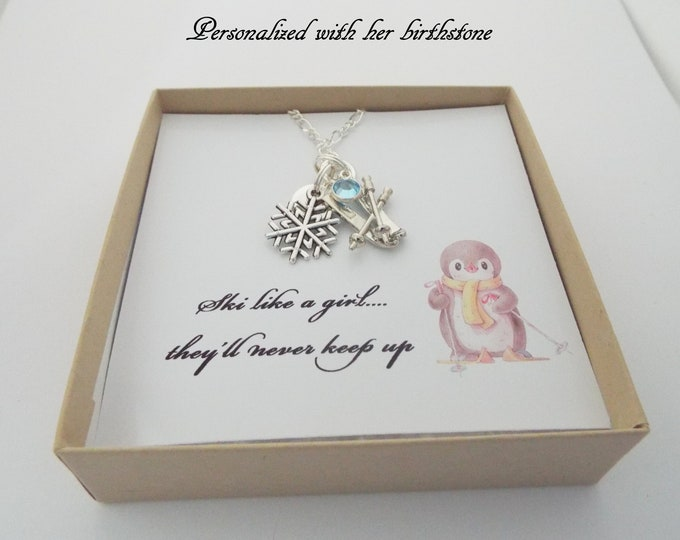 Gift for Skier, Skiing Necklace, Gift for Ski Girl, Sports Jewelry, Personalized Gift, Birthstone Necklace, Custom Jewelry, Silver Necklace